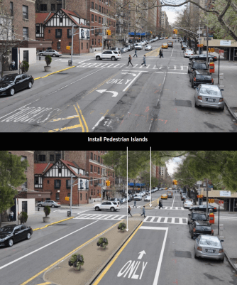35 blocks of West End Avenue are slated for a road diet. Intersections that had pedestrian fatalities this year, like 95th Street, will receive refuge islands and turn bans. Other intersections will not. Image: DOT