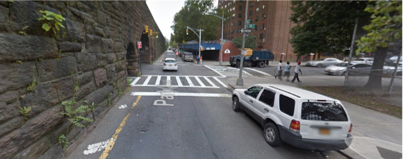 Cyclists on Park Avenue are sandwiched between the viaduct and parked cars while contending with moving vehicles and intersections with limited visibility. Image: Google Maps