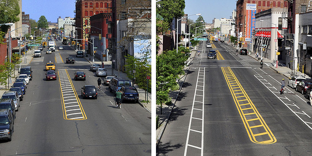 Flushing Avenue before and after the installation of buffered bike lanes. Photos: NYC DOT