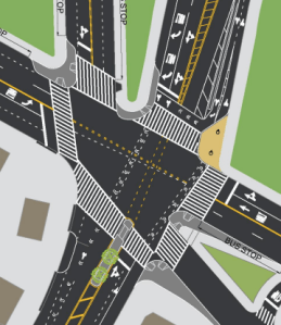 The plan will add four curb extensions and one pedestrian island to the Manhattan side of the 155th Street Bridge. Image: DOT [PDF[