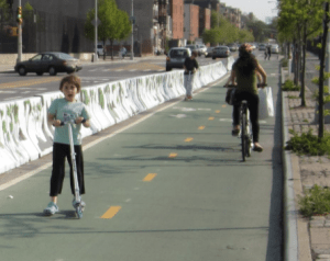Too ugly for Astoria? CB 1 is okay with barriers on the Vernon Boulevard bike lane, but not concrete ones. Image: DOT [PDF]