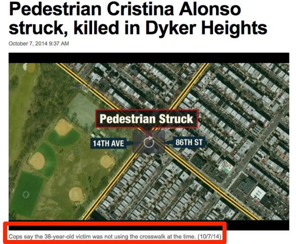 Based on press leaks it seems NYPD still presumes the victim is at fault in most serious crashes. Image: News 12