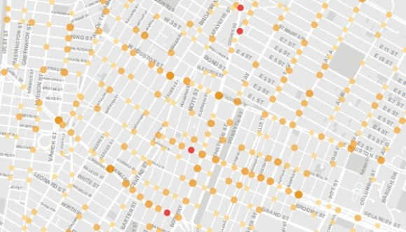 Injuries are indicated in orange, and fatalities in red, on DOT's new Vision Zero map.