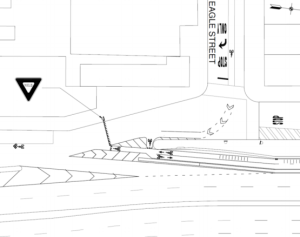 While pedestrian and motor vehicle patterns should remain the same on the Brooklyn side of the bridge, changes are in store for cyclists. Image: DOT [PDF]