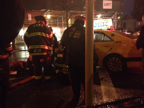A cab driver struck a pedestrian at Broadway and West