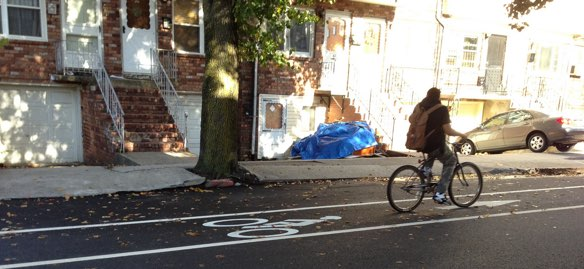 Jersey City bike-share is expected to launch in the spring. The city is currently striping 31 miles of bike lanes. Photo: ##https://labikas.wordpress.com/2013/11/01/new-jersey-city-bike-lanes-on-fulton-and-woodlawn/##Joe Linton##