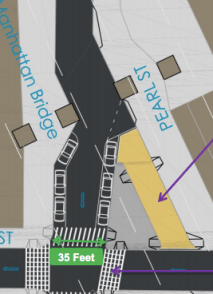 More pedestrian space would also come to the intersection of York and Pearl Streets. Image: DOT [PDF]