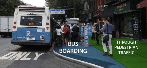 CB 8 members oppose wider sidewalks and bus stops because they fear it will lead to gridlock. Photo: DOT [PDF]