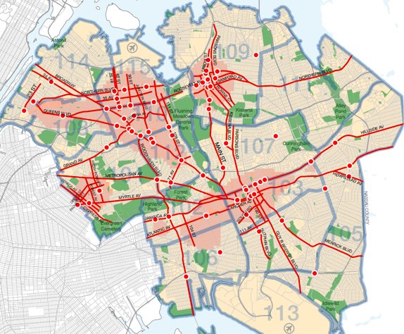 Concentrating on high priority intersections in Queens alone could use up roughly an entire year's worth of allotted Vision Zero engineering improvements. Image: NYC DOT
