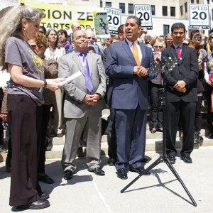 State Senators Adriano Espaillat, at mic, and Martin Malave Dilan, at left, at a Families for Safe Streets rally in Albany in 2014. Dilan and Espaillat have introduced a bill to prohibit police from arresting bus drivers suspected of committing misdemeanors in crashes involving pedestrians and cyclists. Photo: Brad Aaron