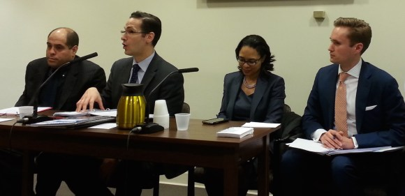 Keith Kerman from DCAS, left, and Ryan Russo, Stacey Hodge, and Ed Pincar of DOT testify this afternoon. Photo: Stephen Miller