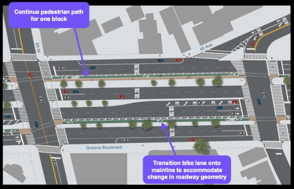 East of the BQE, the service roads widen to two car lanes, shifting the protected bike lanes. Image: DOT [PDF]