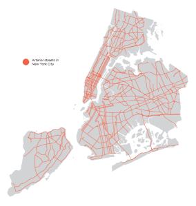 Arterial roads comprise 15 percent of NYC's streets but are the site of nearly 60 percent of the city's pedestrian deaths. Map: TA