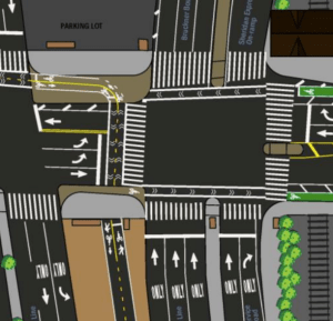 The intersection of Hunts Point Avenue and Bruckner Boulevard is getting new bike lanes, a new median crosswalk, and pedestrian space (in dark brown). Image: DOT [PDF]