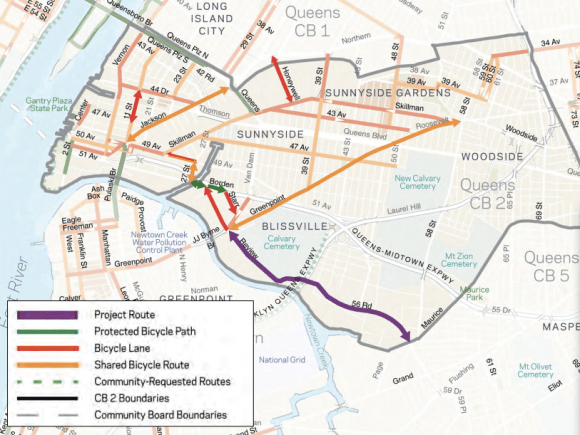 A separate plan would expand the bike network in Sunnyside and Long Island City. Map: DOT [PDF]