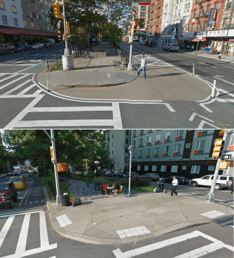 On Pike and Allen Streets, DOT didn't wait for a multi-million dollar capital project before implementing street safety upgrades. Photos: Google Maps