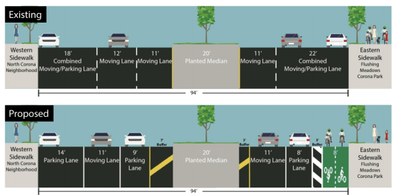 This road diet and protected bike lane is too much for Queens CB 4 to handle. Image: DOT [PDF]