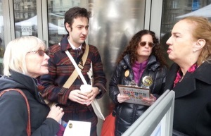 Gale Brewer tells traffic violence victims how nasty they are for urging her to remove street safety obstructionists from community boards. Photo: Stephen Miller