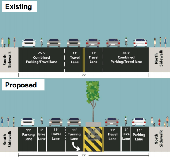 An extra-wide section of E. 165th Street in the Bronx is set to get a road diet, bike lanes, and pedestrian islands. Image: DOT [PDF]