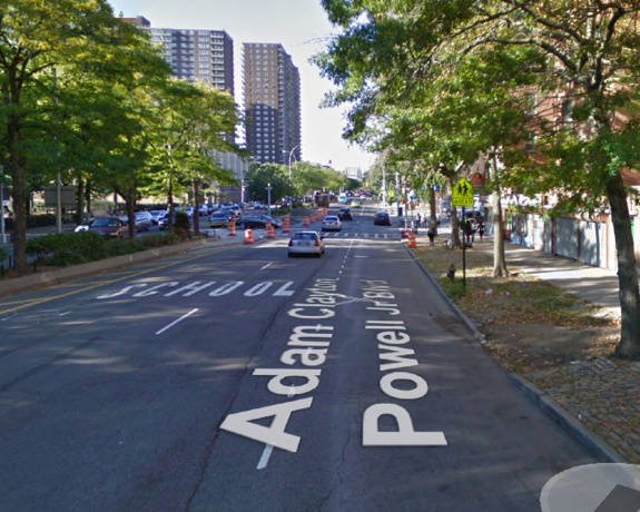 The school zone on southbound Adam Clay Powell Jr. Boulevard at 150th Street, where the unidentified driver hit Ervi Secundino and dragged him for one block. Image: Google Maps