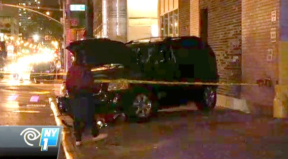 Victor Grant was killed on the sidewalk after two drivers collided on 11th Avenue at 42nd Street. No charges were filed. Image: NY1