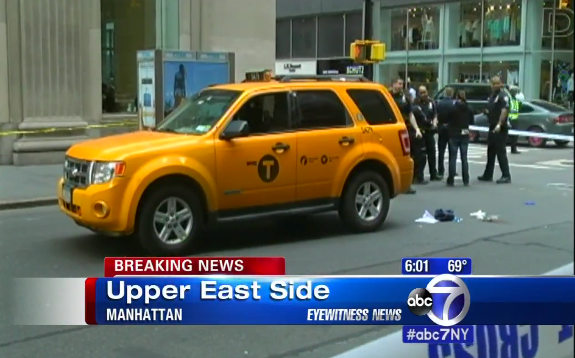 An unidentified cab driver fatally struck 76-year-old Amelia Sterental in an Upper East Side crosswalk. NYPD and Cy Vance filed no charges. Image: WABC