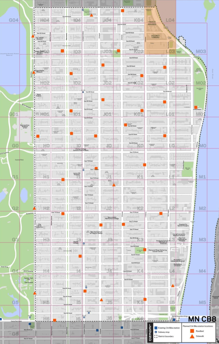 Here's Where Citi Bike Stations Will Go on the Upper East ... on new york city limits map, nyc subway map, order nyc bike map, nyc dot map, manhattan waterfront greenway bike map, nyc cycling map, tribeca map, bronx zip code map,