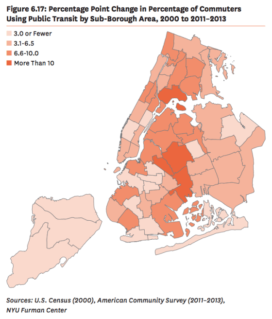 Neighborhoods near the South Bronx, Bushwick, Brownsville, and Middle Village had the biggest increases in transit commute share. Map: NYU Furman Center