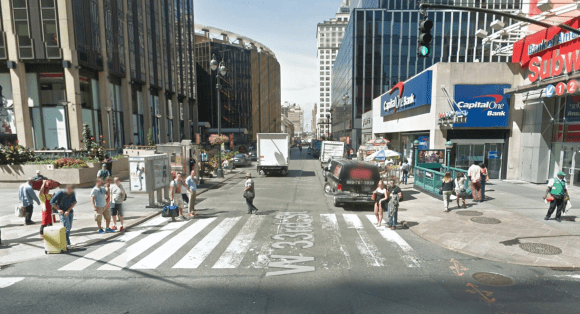 33rd Street west of Seventh Avenue will become a temporary pedestrian plaza this summer. The project could be made permanent in the future. Photo: Google Maps