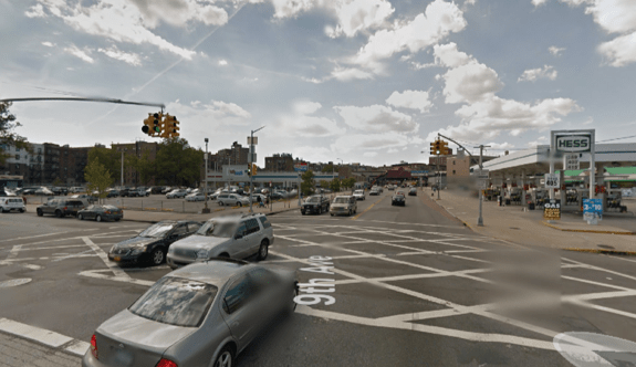 Two drivers hit two pedestrians, killing a 24-year-old man, on W. 207th Street at Ninth Avenue in Inwood. Council Member Ydanis Rodriguez has asked DOT to study W. 207th for potential safety measures. Image: Google Maps