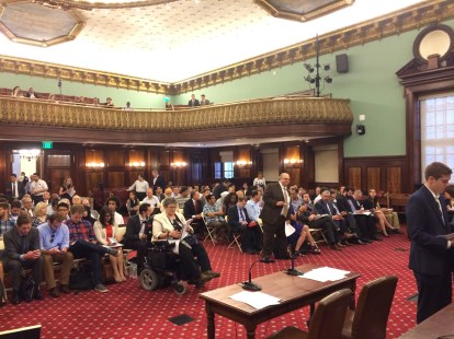 The scene at today's transportation committee hearing. Photo: Stephen Miller