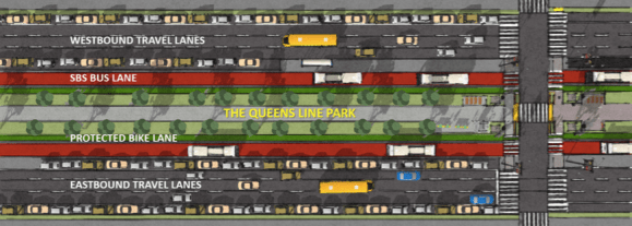 The students propose bus lanes, curbside protected bike lanes, and a large median park for Queens Boulevard. Image: Hunter College