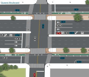 The first phase of the project includes protected bike lanes, median crosswalks, and expanded pedestrian space. Image: DOT [PDF]