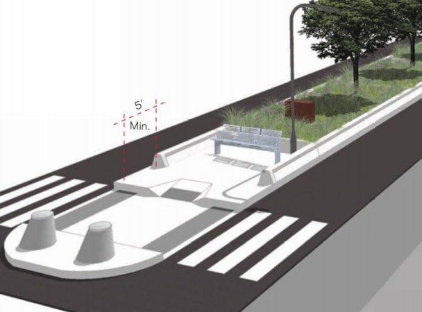 The city is proposing raised medians featuring seating areas. Image: DOT [PDF]