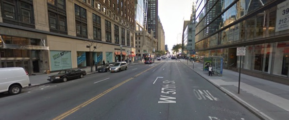 West 57th Street, looking westbound, where an MTA bus driver killed Rochel Wahrman this morning. Image: Google Maps