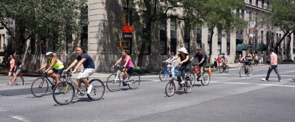 New Yorkers enjoying Summer Streets last Saturday. Photo: Clarence Eckerson Jr.