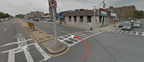 The red arrow indicates the approximate path of Carol Carboni, and the white arrow indicates the approximate path of the 33-year-old driver who killed her in the crosswalk at Avenue Z and Nostrand Avenue. Photo: Google Maps