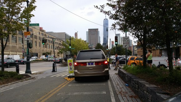 A driver on the greenway? No way! Photo: Shelly Mossey
