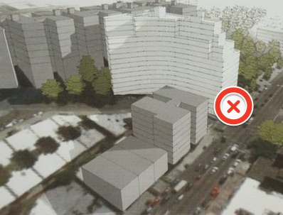 X marks the spot of the 1 train entrance below a proposed apartment building on Broadway in Washington Heights, which CB 12 says needs more than 50 parking spots. Image via DNAinfo