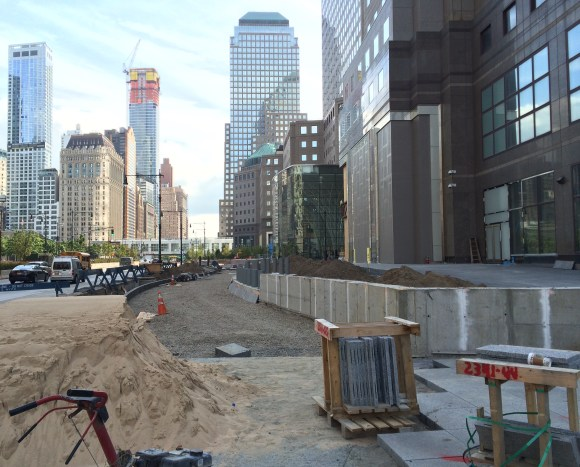 Looking south from Vesey Street. Construction on this section of the Hudson River Greenway, detoured since 2007, is set to reopen in mid-November. Photo: Stephen Miller