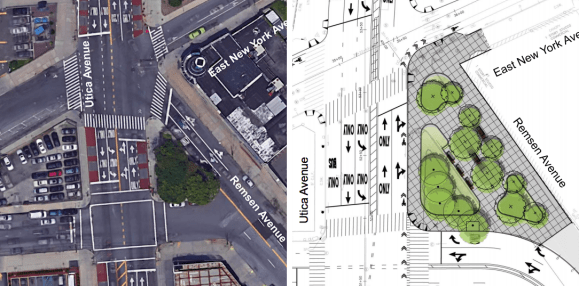 A reconstruction project will add pedestrian plazas to Empire Boulevard, including this one at Remsen Avenue. Images: DOT [PDF]