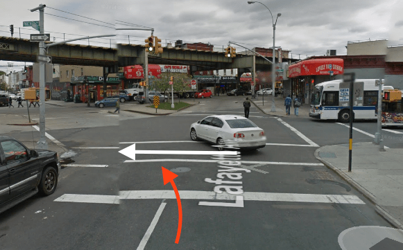 The white arrow represents the path of Latiesha Ramsey, and the red arrow the approximate path of the truck driver who hit her, based on NYPD's account of the crash. Image: Google Maps