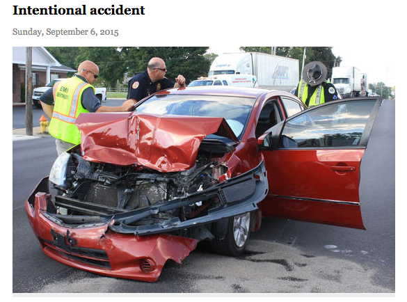 """Even when a motorist is accused of intentionally causing a crash, the press calls it an """"accident."""" Advocates are hoping the Associated Press will help change that. Image: Shelbyville Times-Gazette"""