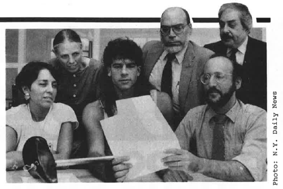 City Cyclist Oct-Nov 1987 pic w Steve Athineos + other bike ban plaintiffs