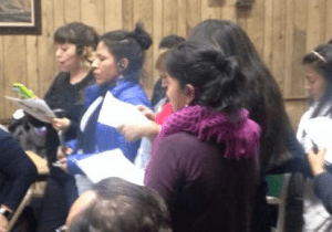 A group of Corona women demanded a safer 111th Street at CB 4's monthly meeting on Tuesday. Photo: Queens Bike Initiative