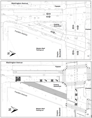 DOT has plans to replace a small slip lane that feeds into Empire Boulevard with a pedestrian plaza, but local anger over gentrification could prevent the project from coming to fruition. Image: DOT/DDC/RBA Group