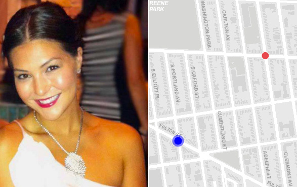 The blue dot is the approximate location of the crash that killed Victoria Nicodemus. The red dot is where a curb-jumping driver killed 9-year-old Lucian Merryweather in 2013. Both crashes happened in the 88th Precinct, where cops issue an average of about 10 speeding tickets a month. Victoria Nicodemus photo via Daily News. Map image: DOT Vision Zero View