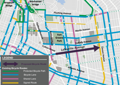 A dedicated lane on Lafayette Avenue will help fill in gaps in the neighborhood's already extensive bike network. Image: DOT