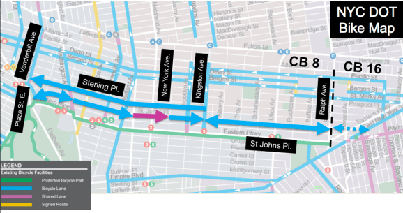 DOT wants to install dedicated bike lanes on St. Johns Place and Sterling Place in Crown Heights. Image: DOT