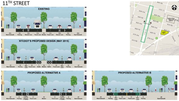 11th Street is a major bike connector, but none of the redesigns being considered by the city included a protected bike lane. Image: DDC/DOT/Parsons